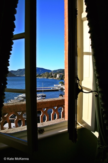 photo lake como through window